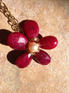 Ruby Heart Peach Pearl Flower Gold Details Gold by Lilyb444, $76.00