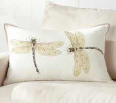 Luxe Dragonfly Embroidered Lumbar Pillow Cover   Pottery Barn  -- idea for a project