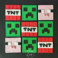 Tnt Minecraft, Cocoa Cake, Cake Works, Fondant Cupcake Toppers, Different Fonts, Sugar Paste, Creeper, Food Coloring, Kos