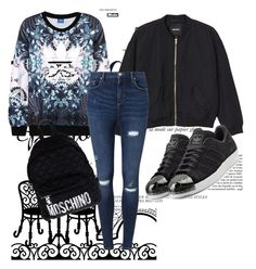 """"""""""" by kiiit-thy on Polyvore featuring Anja, adidas Originals, Monki, Miss Selfridge and Moschino"""