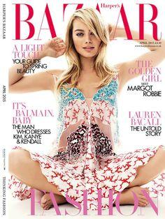 Margot Robbie en tonos pasteles para la portada de Harper's Bazaar UK Abril 2015