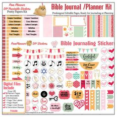 Editable Bible Journalling / Planner Kit w 4 Pre-Decorated Quick Pages 8 PDF Printables, Fit Happy Planner, Christian Stickers #PomPlanner Fits in Happy Planner PRE-Decorated pages!