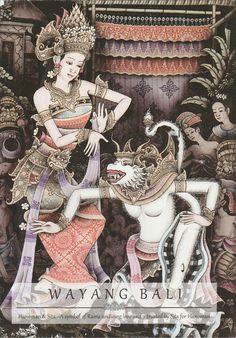 Traditional painting Wayang by Agung Raka Parta, Kliki Ubud Gianyar, Bali