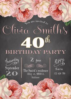 Peony Birthday Invitation / Digital Printable by MyPrintableInvite