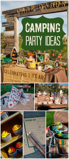 How cool is this outdoor camping party with a s'mores bar and hot chocolate! See more party ideas at CatchMyParty.com!