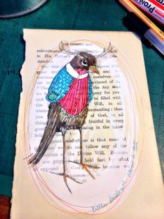 An original drawing on vintage book page. It was done using white ink and various Japanese ink pens. OOAK and ready to fly to a new home anywhere in the world. Embedded Image Permalink, Vintage Book, Book Cover, Illustration, Original Drawing, Ooak