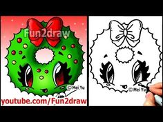 How to Draw Christmas Cartoons - How to Draw a Santa Kitty Cat - Drawing Tutorials - Fun2draw - YouTube