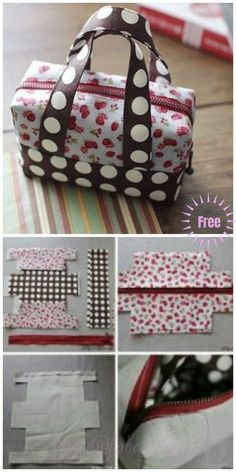 DIY Fabric Mini Tote Handbag Tutorial Diy Bag and Purse diy purse Handbag Tutorial, Diy Handbag, Diy Purse, Tote Tutorial, Tutorial Sewing, Diy Tutorial, Bag Patterns To Sew, Sewing Patterns, Duffle Bag Patterns