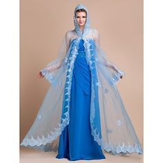 Long Sleeve Organza Wedding/Evening Hood/Poncho (More Colors) – USD $ 129.99