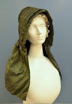 Green silk bonnet. Ca. 1810 to 1820   Missouri History Museum