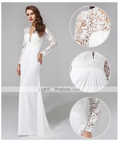 c1e96eadf9 Sheath   Column V Neck Sweep   Brush Train Chiffon Floral Lace Custom  Wedding Dresses with