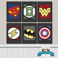 Superhero Digital Art Prints Printable Art by LilFacesPrintables, $25.00 INSTANT DOWNLOAD