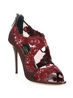 Oscar de la Renta - Ambria Mesh & Patent Leather Peep-Toe Sandals<br>