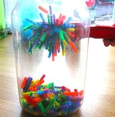 Combine a glass jar, colorful pipecleaners and a magnet wand for a fun activity...fun for my toddler as the older girls are doing their work!