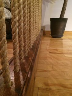 Built This Rope Wall Room Divider To Break Up My Loft Style Space Provide A