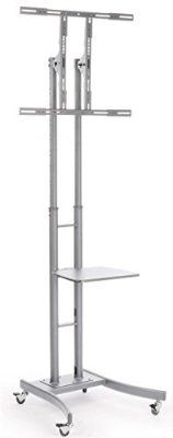 cool Portable TV Stand with Wheels for LCD, Plasma or LED TVs Between 32 and 65 inches, Height-Adjustable, Steel (Silver) - For Sale Check more at http://shipperscentral.com/wp/product/portable-tv-stand-with-wheels-for-lcd-plasma-or-led-tvs-between-32-and-65-inches-height-adjustable-steel-silver-for-sale/