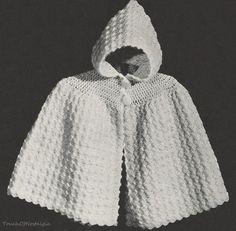 Crochet Baby CAPE Pattern Vintage 1940s - Cuddly HOODED Cape Pattern - So Cozy Warm / ANGORA Trimmed. $3.75, via Etsy.