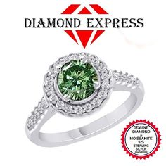 """1.00 Ct Genuine Diamond & Green Moissanite 14K Gold Halo Engagement Ring """"Mother\'s Day Gift"""". Starting at $29"""