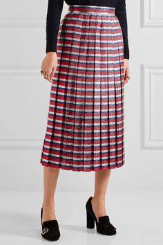 Gucci - Pleated Striped Silk-blend Lamé Midi Skirt - Blue - IT44