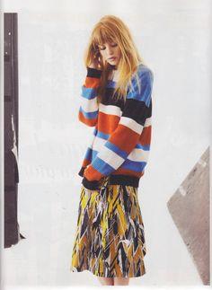 Grazia magazine featured the #AmericanApparel Seed Stitch Stripe Pullover, Spain, March 2013.