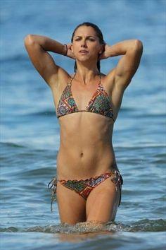 Soccer player Alex Morgan on the Hawaii beach in December 2012...