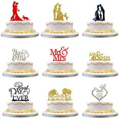 Mr&Mrs Romantic Gold Silver Shiny Cake Topper Wedding Party Top Letter Decor
