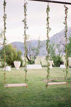 Swings for a garden wedding Photo by Jose Villa / http://www.deerpearlflowers.com/wedding-reception-decor-swing-ideas/3/