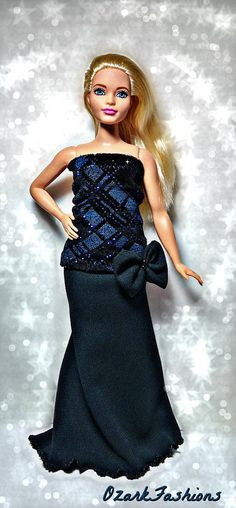 Curvy Barbie Doll Dress  Sparkling Evening Outfit for Curvy