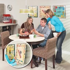 To transform board games into wall art, simply drill small holes at the corners, and then hang them over small nails. That way, you can leave them as wall art most of the time, and take them down when it's time to play!