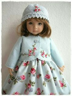 Baby Blue Embroidered Outfit for Little Darling - how stunning Charming makes me wish I had a doll to play with! Sewing Doll Clothes, Sewing Dolls, Girl Doll Clothes, Doll Clothes Patterns, Doll Patterns, Pretty Dolls, Cute Dolls, Beautiful Dolls, Antique Dolls