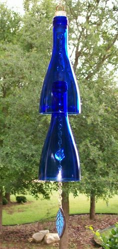 Wine+Bottle+Wind+Chimes | Wine Bottle Wind Chime (Blue)