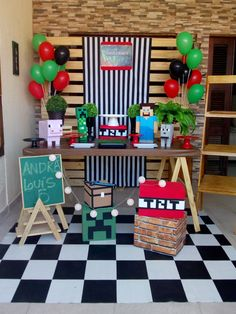 Topics # for # 10 # years # 7th Birthday Party For Boys, Minecraft Birthday Party, Birthday Diy, Minecraft Party Decorations, Birthday Party Decorations, Party Time, 10 Years, Emoji, Dragon Ball