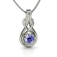 Round Tanzanite Sterling Silver Necklace | Infinity Knot Pendant | Gemvara