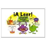 Reading Signs, Posters, Banners and stickers in SPANISH in funny monsters theme- iALeer!- ?Donde estan los libros? (Let's Read!- Where are the Books?)- Monsters Read2 SP Large Poster