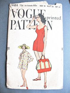 Items similar to Sale off Vogue 9484 One-Piece Bathing Suit and Coat Vintage Sewing Pattern Bust 36 on Etsy Vintage Vogue Patterns, Vogue Sewing Patterns, Vintage Bathing Suits, Swimsuit Pattern, Etsy Vintage, Vintage Outfits, Vintage Clothing, Coat, 1940's Fashion