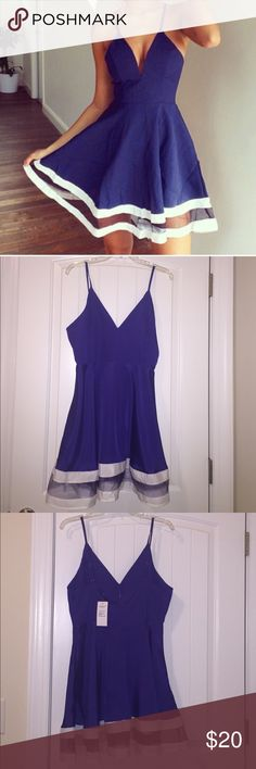 NWT Zanzea Collection blue dress sz L NWT Zanzea Collection royal/midnight blue A-Line flirty dress. V-neck w/ adjustable Spaghetti straps. White double stripe Hem w/ see through blue mesh. Ordered online but top too big for me. Never worn & perfect condition. Dress sits above the knee. Soft satiny feel, but material is polyester. Zippers down the back. Super lightweight girly dress. Irons easily with cool iron. Size is Large. I would say this fits like a larger medium or medium Large (sz…