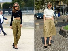 crops and full skirts/trousers