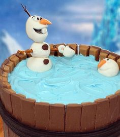 Olaf and friend in Twix swimming pool