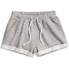 H&M Sweatshirt shorts (€5,96) ❤ liked on Polyvore featuring shorts, bottoms, pants, short, grey, cotton shorts, h&m shorts, grey shorts, short shorts and gray shorts
