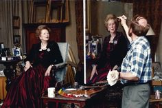 Nelson Shanks is shown painting Margaret Thatcher in 1994.