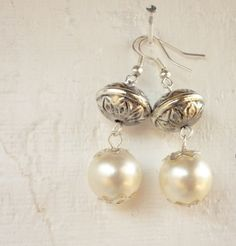 Recycled Pearl Bohemian Style Holiday Earrings by MsMiscellany, $18.00