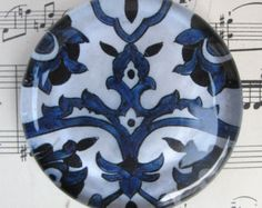 "Blue and White Delft AntiqueTile Glass Paperweight Vintage Blue and White China Gift Idea Home Decor Office Decor 2 3/8"" Diameter 1/2"" thick"