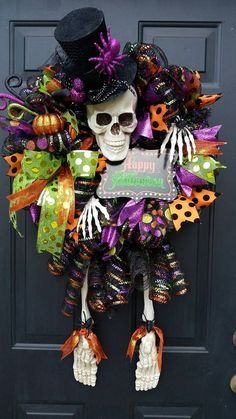 Get ready for your spooks with Mrs. Skeleton! This wreath is 24 round and about 3 long including the legs. ** These are made to order, each one may be slightly different. Ribbons, hat and sign may vary. If there is a specific color scheme or sign you want please send me a convo and I will let you know if I can recreate exactly what you want