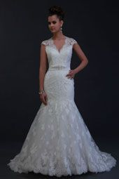 Venus wedding dress/gown- white mermaid style wedding dress with lace overlay, waist beading and lace skirt, v-neckline and queen ann shoulders.  For the Bride Boutique Ft. Myers, Florida