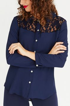 Contempo Fashion Co-ordinator Lace Inset, Career, Blouse, Long Sleeve, Sleeves, Tops, Women, Fashion, Blouse Band