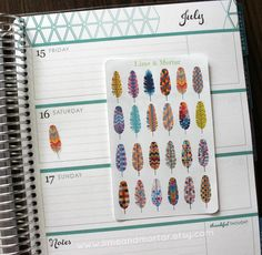 Patterned Feather Planner Stickers by LimeandMortar on Etsy
