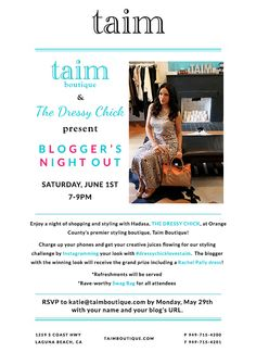 Bloggers Soiree at Taim Boutique Invite!
