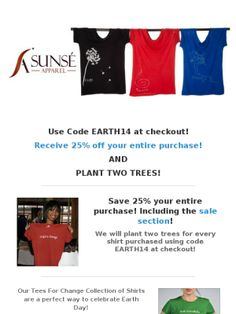 Save 25% on super soft shirts and plant Two Trees for Earth Day!