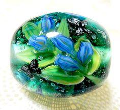 Japanese Gentian & Butterfly Kinari Glass Lampwork Round Flower Bead sra