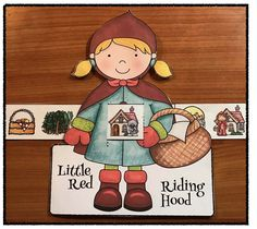 "Fairy Tale Activities: Cute storytelling ""slider"" craft helps sequence & retell the ""Little Red Riding Hood"" fairy tale. Includes color + BW patterns. There's also a slider picturing grandma in bed, as well as the wolf. :-)"
